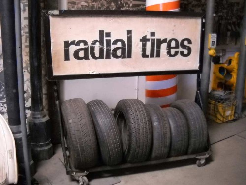 """Radial Tires"" rack."
