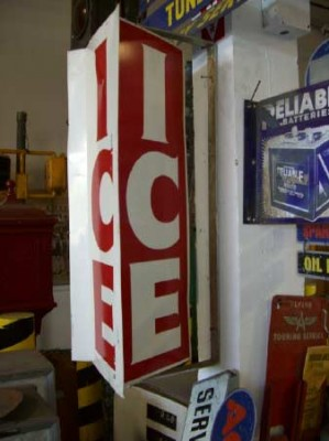 "Spinning, 3 sided ""Ice"" sign. Red, White, and Blue."