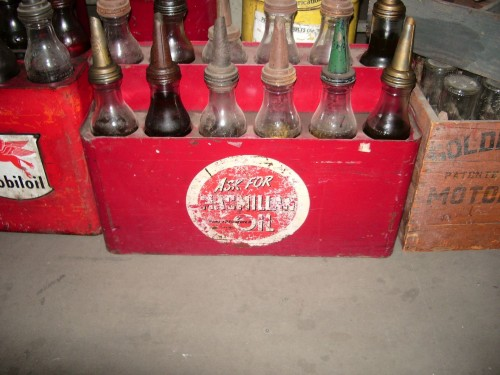 Vintage Oil Bottle Display
