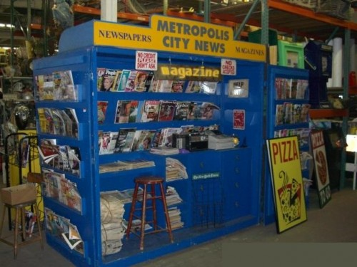 Large Blue Newspaper Kiosk / News Stand with Barn Doors