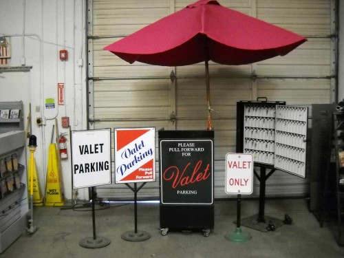 Valet Stand with Various Items.