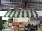 Large Rectangular Green/White Striped Awning