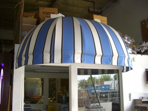 Blue/White Striped Rounded Awnings
