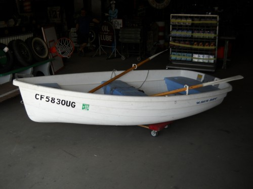 Large White Resin Row Boat.