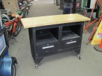 Black Metal Work Bench with Wood Top