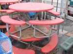Round, Fiberglass picnic tables with attached seats