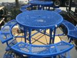 Blue Metal Picnic Tables with Attached Benches (Round)