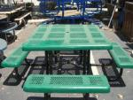 Green Rubber Coated Picnic Table with Attached Benches