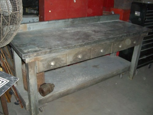 Silver Wooden Work Bench on Wheels with Metal Top