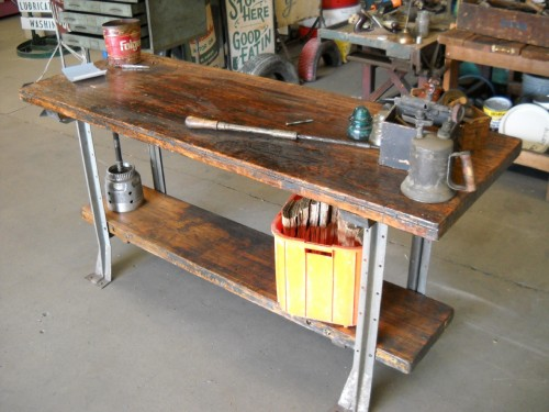 Swell 2 Tiered Wooden Work Bench With Metal Legs In Work Benches Short Links Chair Design For Home Short Linksinfo