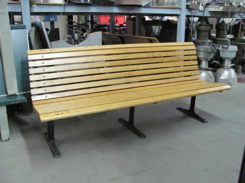 Slated Wood Benches with Rounded Back