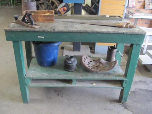 Vintage Work Table With Metal Top