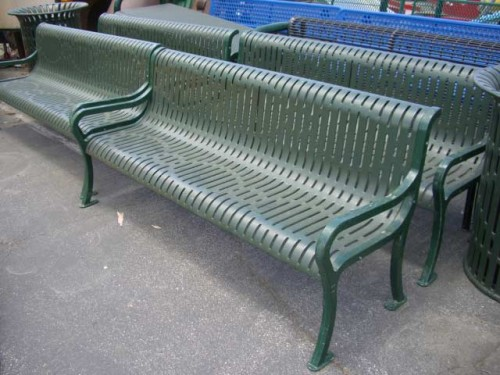 Green Metal Rounded Back Park Benches with Arms