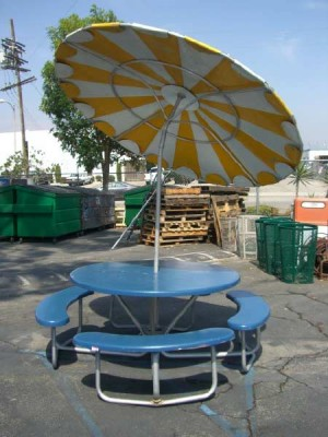 Fiberglass Picnic Tables with Attached Benches (Umbrellas Optional)