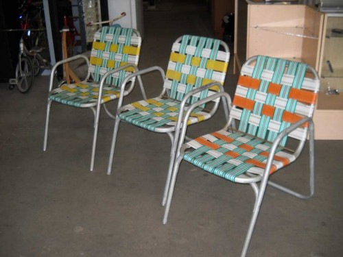 Aluminum and Fabric Strapped Non Folding Patio Chairs