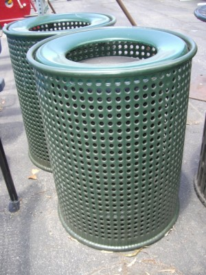 Perforated Trash Cans with Open Tops