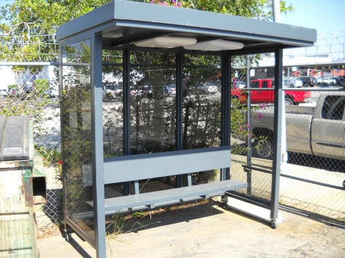 Large, Gray Bus Stop Enclosure
