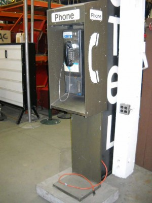 Modern Pedestal Phone Booth on Wheels