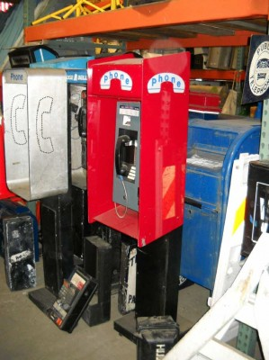 Pedestal Phone Booth with Red Housing