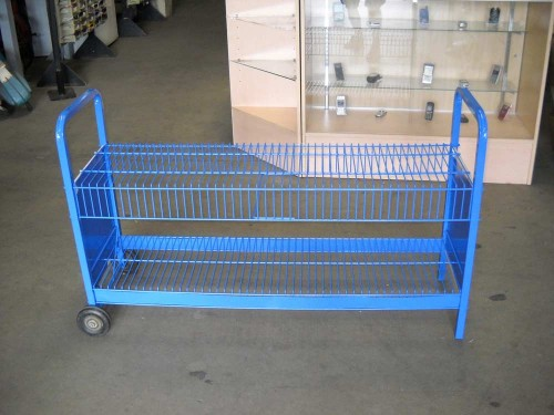 newspaper rack- blue 2-tiered wire