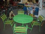 Vintage Green Metal Patio Table and Chair Set